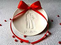 Блюдце для колец свадебное. Красный бант.