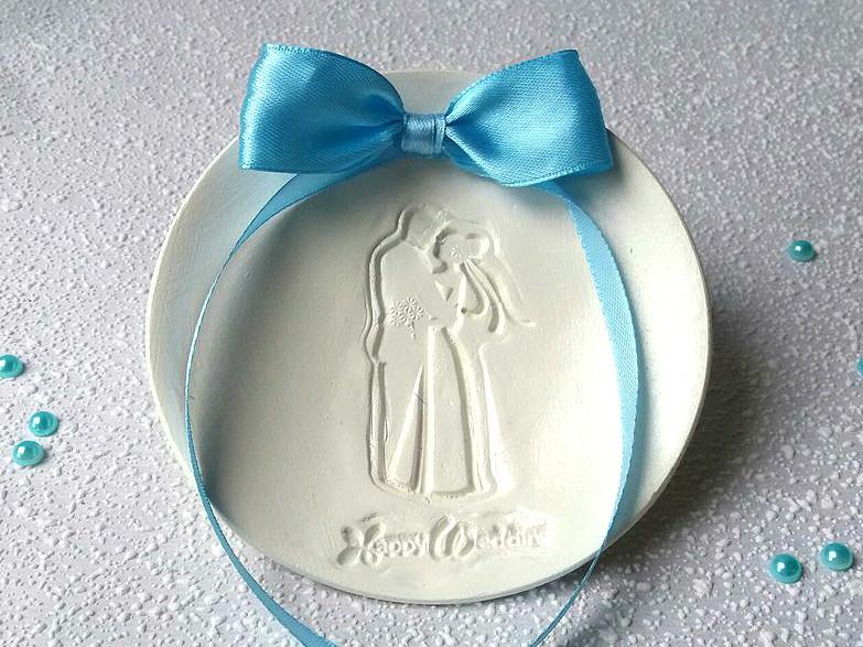 Блюдце для колец свадебное. Бант голубой.