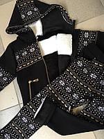 Детский теплый костюм Снежинка\ черный
