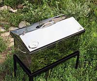 "Коптильня с термометром из нержавеющей стали (520х300х310) крышка ""Домик"""