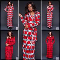 Женское красное длинное  платье  в клетку