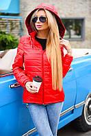 Демисезонная женская куртка с отстёгивающимся капюшоном