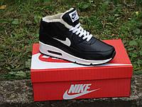 Зимние мужские кроссовки Nike Air Max 90 black Черные р. 41-44