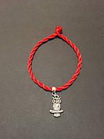 Браслет-оберег красная нить с талисманом Сова
