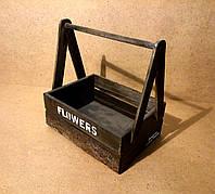 Ящик деревянный с ручкой под цветы, темно-коричневый, 28х20х29 см, фото 1