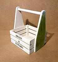 Ящик деревянный с ручкой под цветы, белый с салатовым, 24х19,5х27 см, фото 1