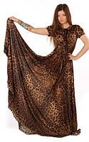 Леопардовое платье в пол с юбкой солнце-клеш