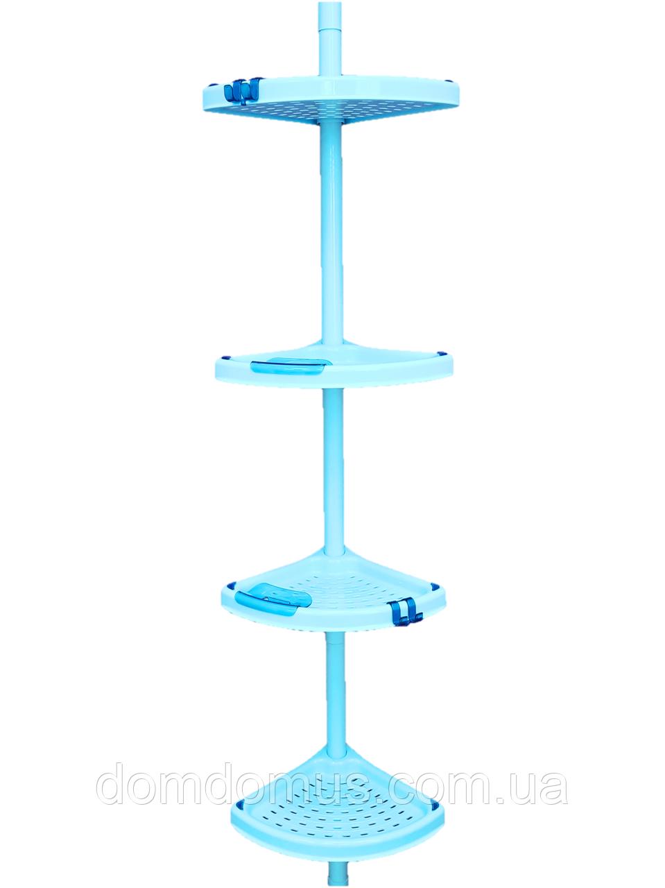 Полка угловая для ванной телескопической пластиковой труба PrimaNova, Турция зеленая