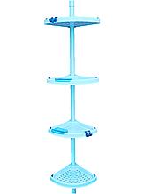 Полиця кутова для ванної телескопічною пластикової труба PrimaNova, Туреччина, блакитна
