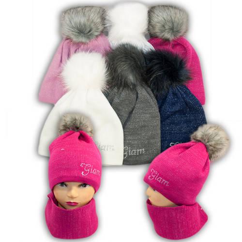 Комплект шапка и шарф (хомут) с помпоном из искусственного меха для девушек, Польша, подкладка флис, BM45P