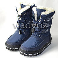 Модные дутики на зиму для девочки сапоги темно синий 27р. Jong Golf