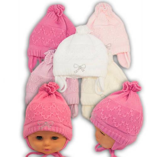 Вязаная шапочка для девочки, Grans (Польша), утеплитель флис, N91F