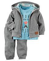 Комплект теплый на мальчика 3 в 1 костюм картерс(6М,9М,18М)