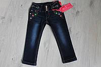 Детские зимние теплые джинсы для девочки на флисе размер 3-8 лет