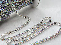Стразовая цепь серебро Crystal AB, SS12 (3 мм) 1 ряд. Цена за 1м.