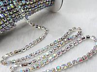 Стразовая цепь серебро Crystal AB, SS12 (3 мм) 1 ряд. Цена за 1м., фото 1
