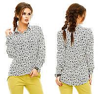 Классическая женская рубашка на пуговицах с принтом
