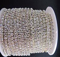 Стразовая цепь, silver, Crystal SS16 (4 мм) 1 ряд. Цена за 1м.
