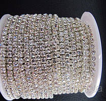 Страхова ланцюг, silver, Crystal SS16 (4 мм) 1 ряд. Ціна за 1м.