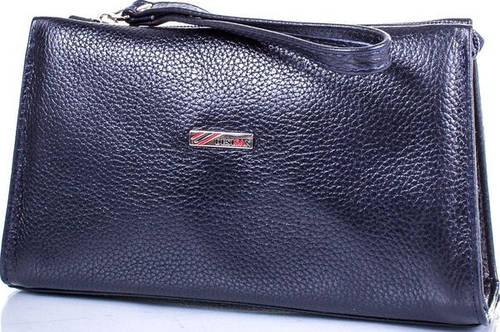 Сдержанная женская кожаная косметичка DESISAN SHI065-315 темно-синий