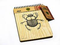 """ЭкоБлокнот А6 """"Скарабей""""  деревянный"""