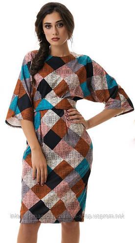 Платье женское кимоно клетка с поясом