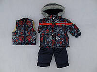 Термокомбинезон для мальчика Зимушка р.80-104 удобный, очень теплый, с жилеткой овчинка