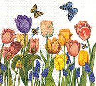 Редкая салфетка Тюльпаны и бабочки 6330