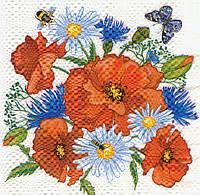 Редкая салфетка Полевые цветы и пчёлки 6331