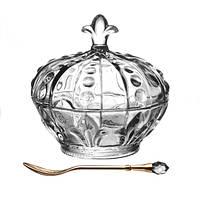 """Икорница с крышкой стеклянная без ложки 11х11 см. """"Корона-Лилия"""" круглая, прозрачная"""