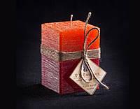 Свеча оранжево-бордовая Квадратная