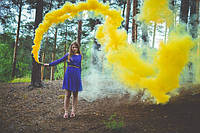 Цветной дым желтый (максимальної насиченості(дим13), димова шашка, жовтий, кольоровий дим, ТМ Jorge
