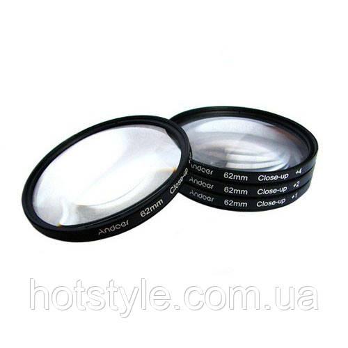 Макролинзы 62mm Close-up, +1+2+4+10 диоптрий, набор