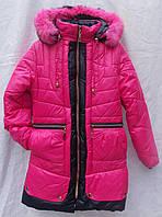 Пальто зимнее мех кролик для девочки