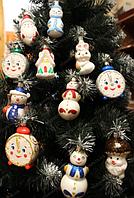 """Новогодняя игрушка """"Часы, снежная баба, снегурочка, дед мороз, домик, зайчик, гриб"""""""