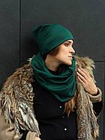 Зеленый изумрудный  шарф снуд