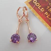 Серьги куб цирконий розовое золото 18К позолота фиолетовый цирконий на палочке