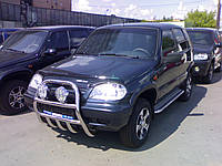 Защита переднего бампера (кенгурятник) нерж., высокий, клыки Chevrolet Niva (шевроле нива/ ваз 21236) 2002+