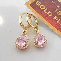 Серьги розовая капля желтое  золото  штамп 18К