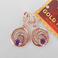 Серьги  розовое золото 18К позолота круги с фиолетовым цирконием