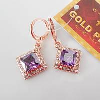 Серьги  розовое золото 18К позолота ромб фиолетовый цирконий