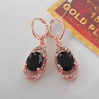 Серьги с черным камнем  розовое золото 18К позолота  овальный  цирконийй