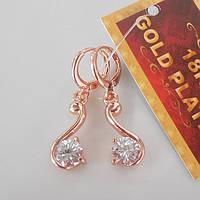 Серьги завитки  розовое золото  18К позолота завиток с белым цирконием