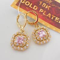 Серьги  желтое  золото 18К штамп квадратные розовый цирконий 124