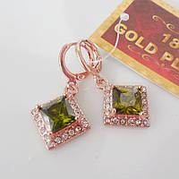 Серьги зеленые  розовое золото 18К позолота ромб зеленый цирконий