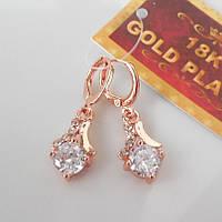 Серьги  розовое золото 18К позолота колокольчик с белым цирконием