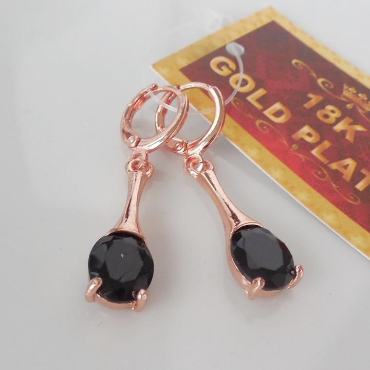 Серьги висюли  розовое золото 18К позолота черный цирконий 138