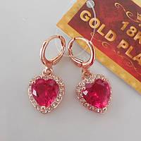 Серьги сердечки  розовое золото 18К позолота розывый цирконий