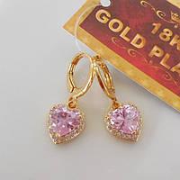 Серьги сердечки розовые  желтое  золото 18К штамп
