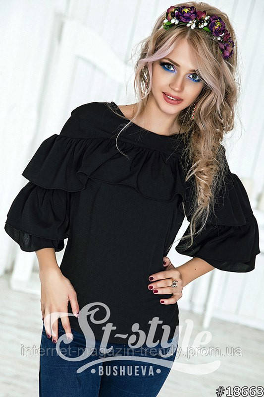 Стильная блуза с воланами в трех расцветках 4042
